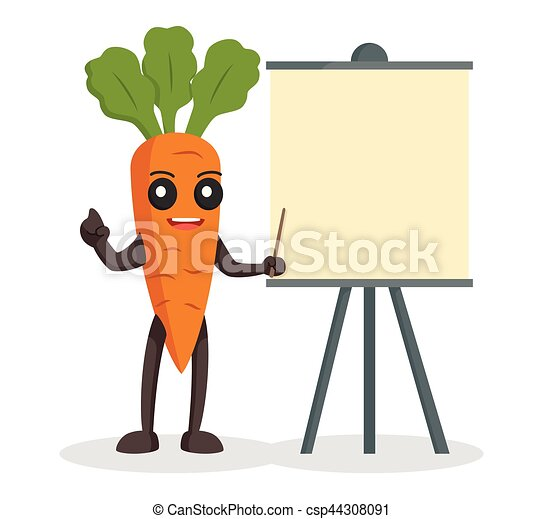 carrot character with blank presentation board - csp44308091
