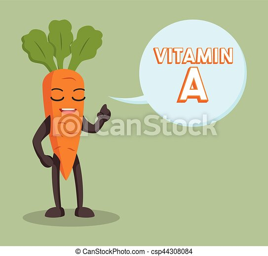carrot character with vitamin a callout - csp44308084