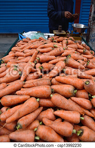 carrot in  market scene near Boudha Nath (Bodhnath) stupa, kathmandu, nepal  - csp13992230