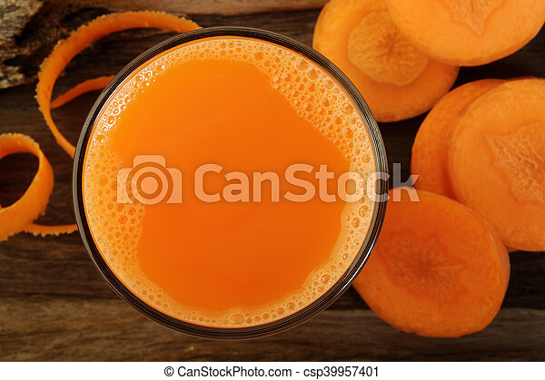 Carrot juice in glass - csp39957401