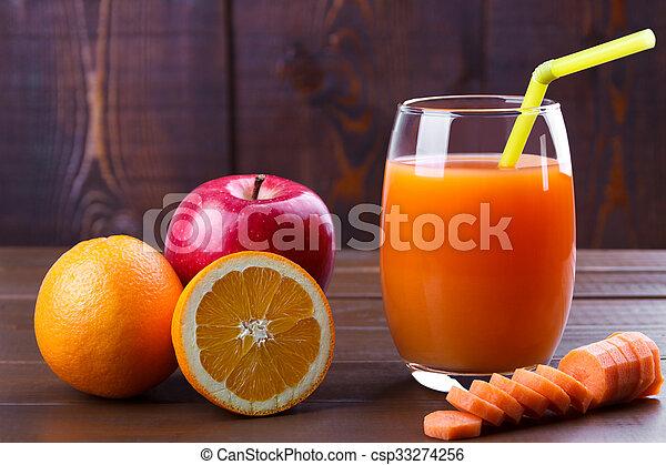 Carrot orange apples juice - csp33274256
