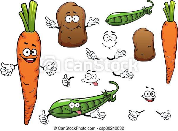 carrot potato and green pea vegetables happy orange vectors rh canstockphoto com