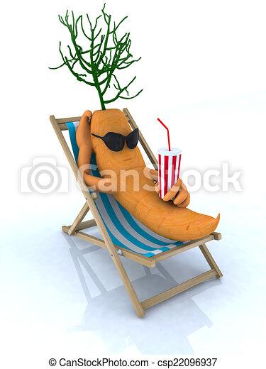 carrot resting on a beach chair - csp22096937
