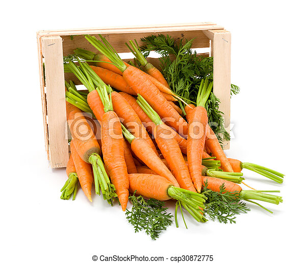 Carrot roots (Daucus carota ssp. sativus) in wooden crate - csp30872775