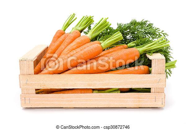Carrot roots (Daucus carota ssp. sativus) in wooden crate - csp30872746