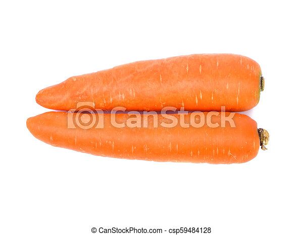 Carrots isolated on white background, top view - csp59484128