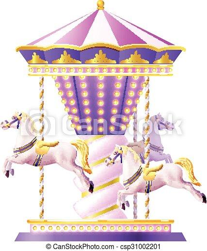 Carrousel Dessin carrousel, retro, illustration. chevaux, doré, jouet, manège