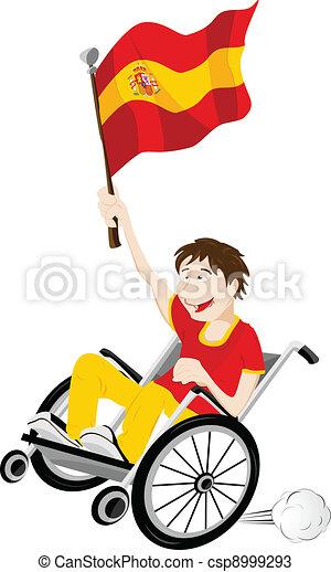 carrozzella, bandiera, ventilatore, sport, sostenitore, spagna - csp8999293