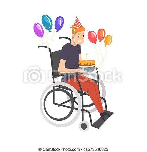 carrozzella, handicappato, festeggiare, vettore, compleanno, pieno, godere, uomo persona, illustrazione, vita - csp73548323