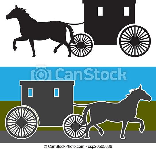carruagem, amish - csp20505836