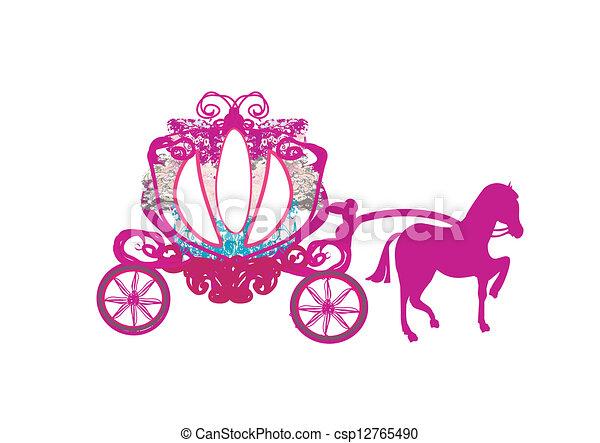 carruagem, doodle, -, ícone, vindima - csp12765490