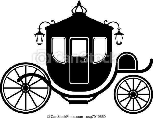 carruagem, silueta - csp7919560