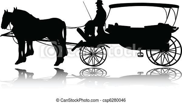 carruagem, silueta - csp6280046