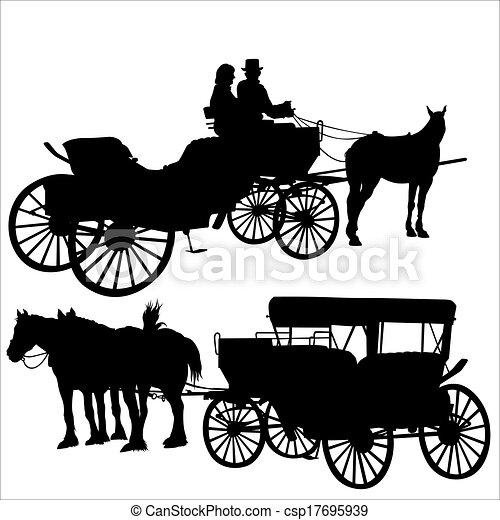 carruagem, silueta - csp17695939