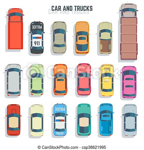 Cars And Trucks Top View Flat Vector Icons Set Cars And Trucks Top
