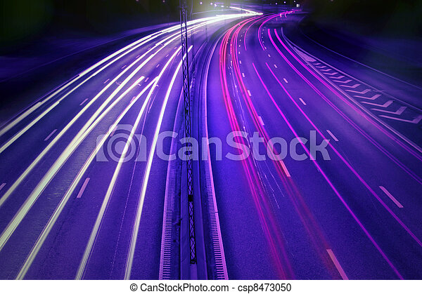 cars at night with motion blur. - csp8473050