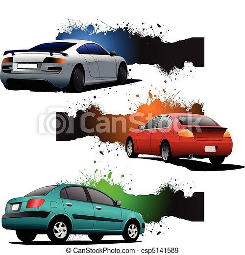 Drei grunge Banner mit Autos. Re - csp5141589