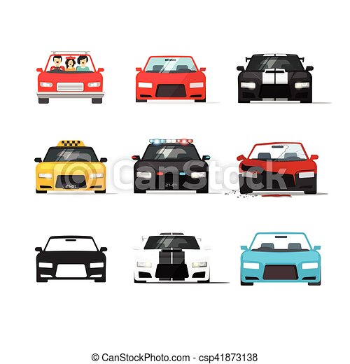 Cars icons set vector, auto collection front view, flat style - csp41873138