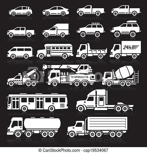 Cars icons set. Vector illustration - csp19534067