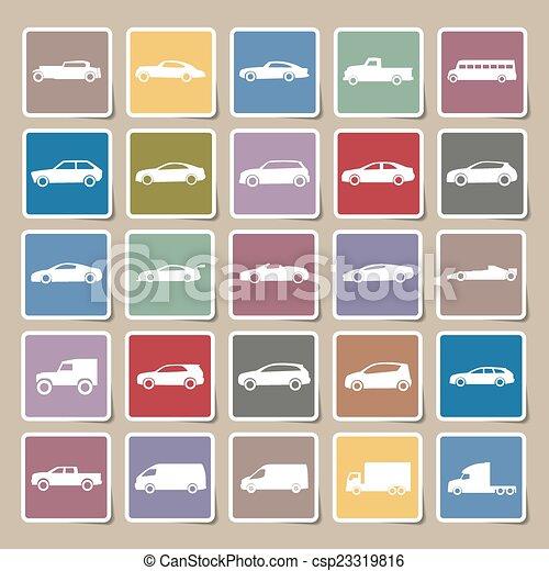 Cars icons Sticker set ,vector EPS10 - csp23319816
