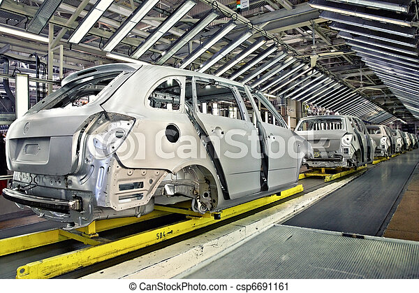 cars in a row at car plant - csp6691161