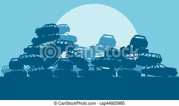 Cars in salvage junkyard in evening with sunset vector - csp44920985