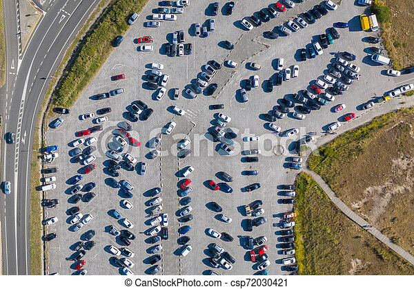 cars in the parking lot, top view from drone - csp72030421