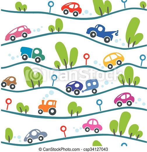Cars on the road. Funny seamless pattern. - csp34127043