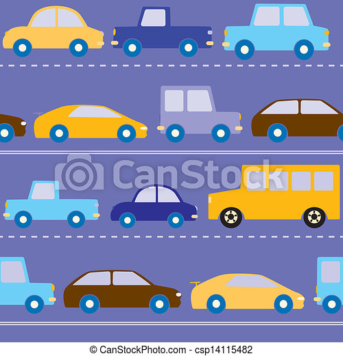 Cars on the road pattern - csp14115482