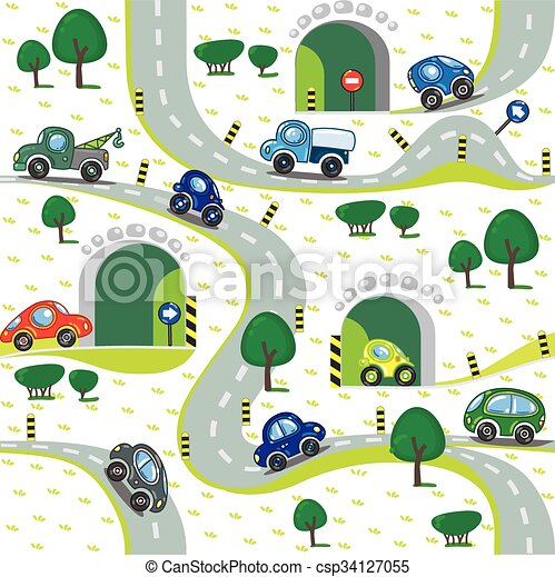 Cars on the road. Seamless pattern. - csp34127055