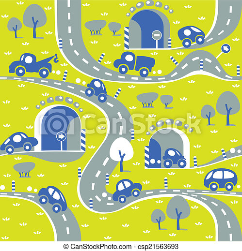 Cars on the road. Seamless pattern. - csp21563693