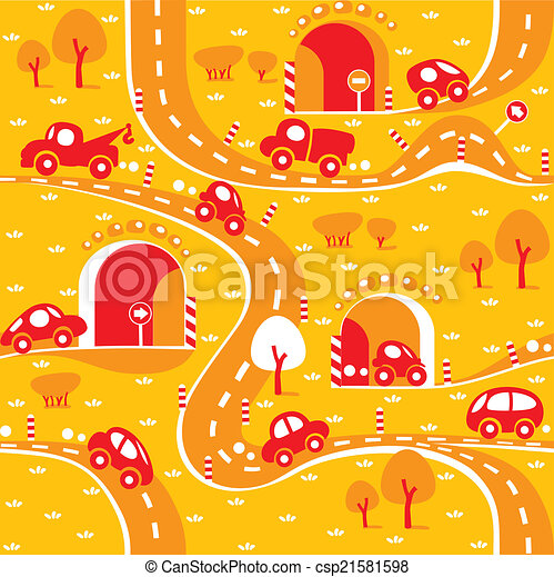 Cars on the road. Seamless pattern. - csp21581598
