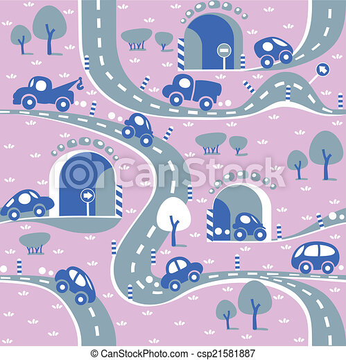 Cars on the road. Seamless pattern. - csp21581887
