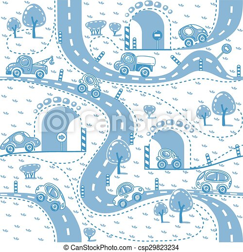 Cars on the road. Seamless pattern. - csp29823234