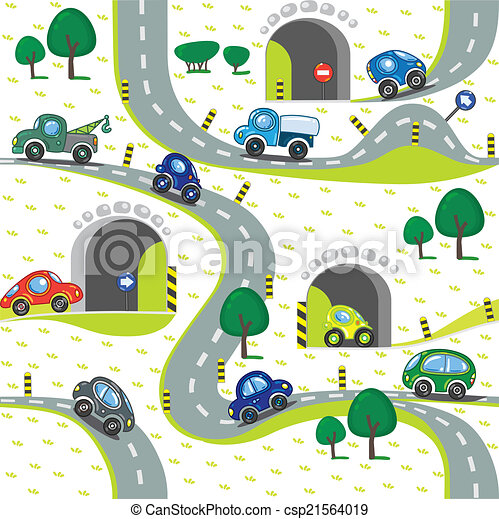 Cars on the road. Seamless pattern. - csp21564019