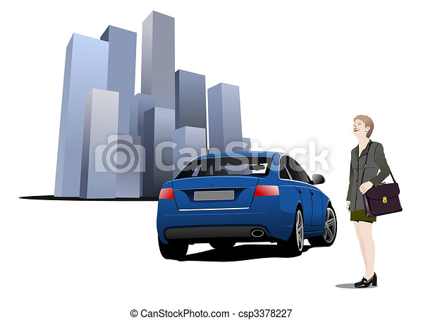 Cars on the road. Vector illustration - csp3378227