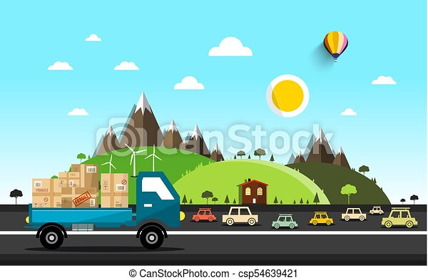 Cars on the Road. Vector Natural Landscape. - csp54639421