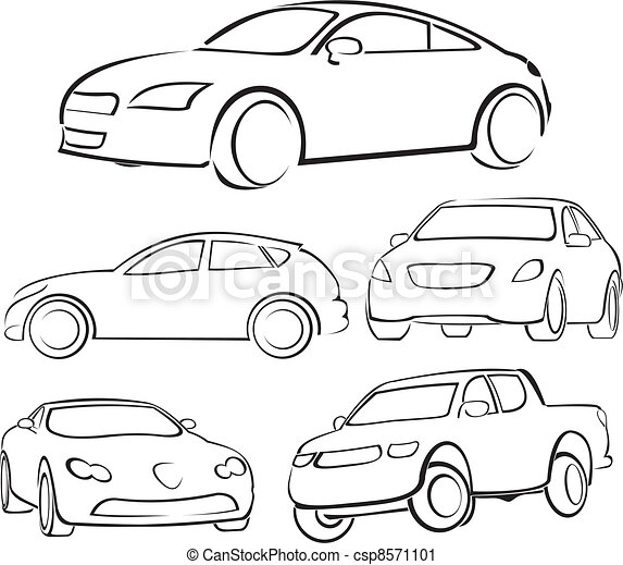 Cars silhouettes. Fast and dangerous driving, fast and elegant car.