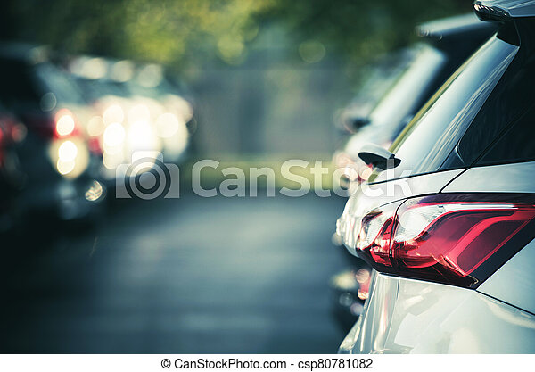Cars Standing In Parking Lot - csp80781082