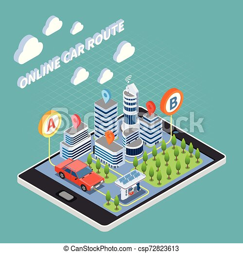 Carsharing Isometric Composition - csp72823613