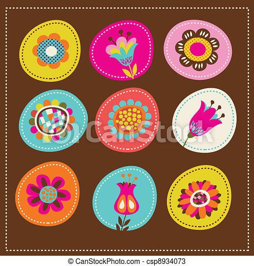 cartão, cute, saudação, cobrança, decorativo, flores - csp8934073