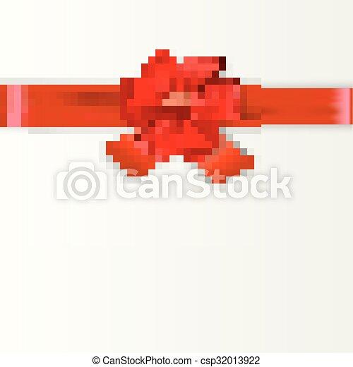 cartão, desenho, vermelho, arco presente - csp32013922