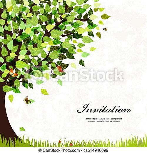 cartão postal, árvore, desenho - csp14946099