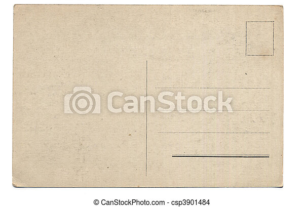 cartão postal, antigas, costas - csp3901484