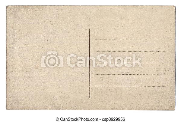cartão postal, branca, antigas, isolado, vazio - csp3929956