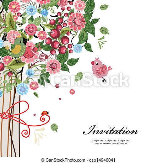cartão postal, desenho decorativo, árvore - csp14946041