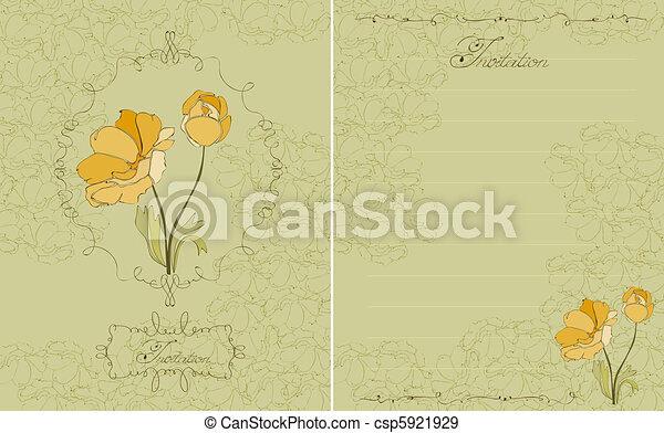 cartão postal, floral, vetorial, verde, convite - csp5921929