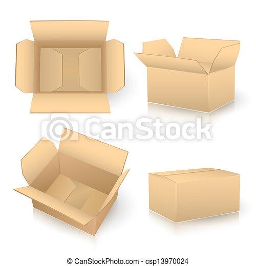 Un juego de cajas de cartón en blanco - csp13970024