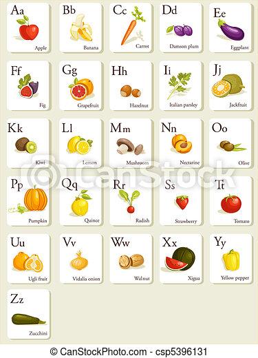 Cartões, alfabeto, legumes, frutas. Alfabeto, legumes ...