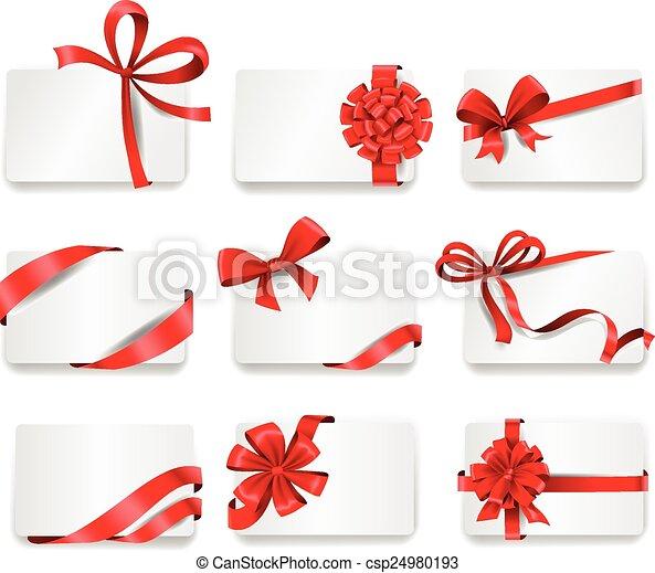 cartões, ribbons., vermelho, presente, festivo - csp24980193